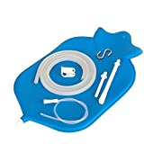 The Large HealthAndYoga(TM) Enema Bag - 4 Quart for Deep Enemas - Open Fountain Top for Easy Cleaning and Hygiene - No Leaky Adapters or Bottle Converters, Hangs Upright - Blue