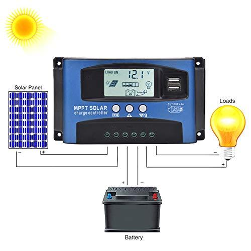 Meiyya olar Panel Regulator, YCX-003 30-100A MPPT Solar Panel Regulator Großbild-LCD-Display Laderegler 12V/24V Autofokus-Tracking(YCX-003-40A)
