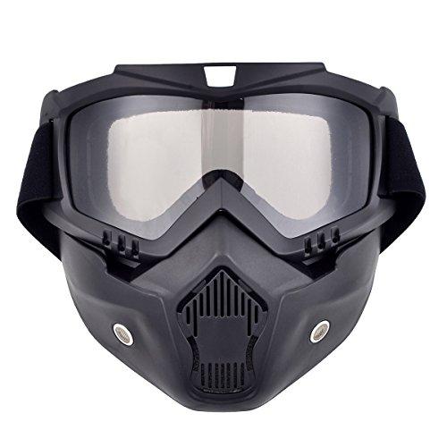 Madbike - Maschera da moto e motocross con occhiali rimovibili e filtro per la bocca per caschi vintage, Brown