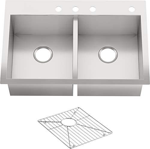 Vault Drop-in/undermount Stainless Steel 33 in. 4-hole Double Basin Kitchen Sink