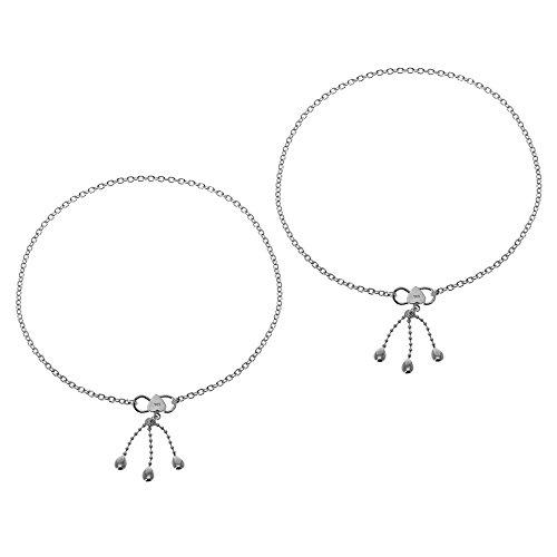 Donne cavigliere d'argento Coppia di piedi catena di gioielli orientali da 10 pollici