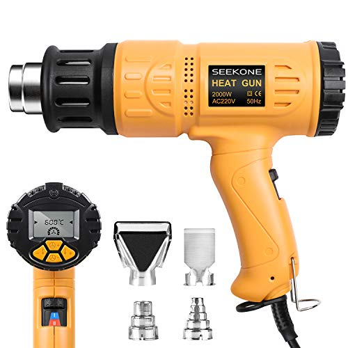 SEEKONE Heat Gun with LCD Display Industrial Heavy Duty Hot Air Gun Kit 2000w Variable Temperature Control 50℃- 650℃ Digital Precision, Dual Temp-Settings, Overload Protection for Removing Paint,