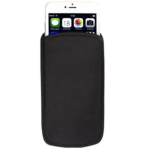 Black Universal Neoprene Shock Absorbing Proof Pouch Sleeve Case for iPhone X/iPhone 8 Plus/Samsung Galaxy Note 8 / S8 Active / J7 Pro/Motorola Moto G5s Plus / Z2 Force/Asus ZenFone 4 Pro