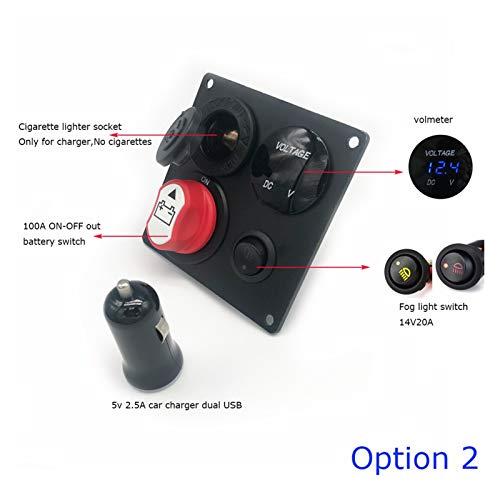 ZHANGJIN Inactividad Car Panel del Interruptor de batería Universal DC12-24V 100A Dual USB Cargador de Coche voltímetro Interruptor Panel de Ajuste for el Coche del Barco RV Truch (Color : Option 2)