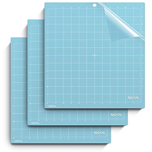 Nicapa LightGrip Cutting Mat for Silhouette Cameo 4/3/2/1 (12x12 inch,3 Mats) Light Adhesive Sticky Quilting Cricket Cut Mats Replacement Accessories for Silhouette Cameo