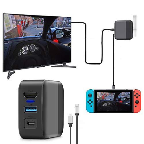 【2021年最新3in1多機能】switchドック HDMI 変換アダプター ACアダプター Type-c充電器(HDMI/USB 3.0/TYPE-C)急速充電 PSE認証済 過電流保護 コンパクト switch ドック代用品 TVモード対応 1.2M Type-Cケーブル付き