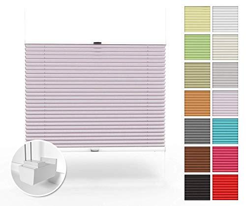 Home-Vision Premium Plissee nach Maß, ohne Bohren mit Klemmträger, Blickdicht Jalousie für Fenster & Tür Sonnenschutzrollo (Silber, B81-90cm x H151-200cm)