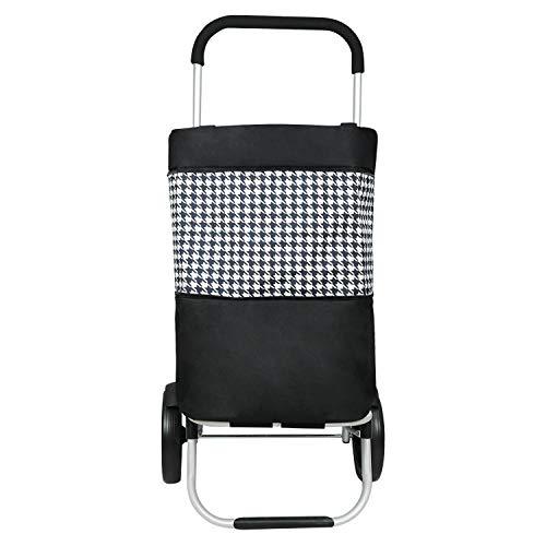 Liqing 51L Einkaufstrolley Klappbar Multifunktionaler Einkaufswagen mit Große Kapazität Abnehmbare Tasche Leicht Handwagen (Schwarz)