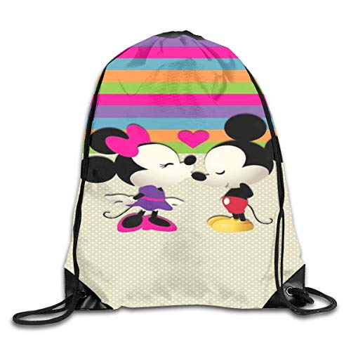 LREFON Micky Mouse Love Minnie Drawstring Bag Gym Backpack Man Women Sport Storage Shoulder Bag