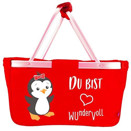 Mein Zwergenland Faltbarer Einkaufskorb Du bist wundervoll, Korb klappbar 28 L, Faltkorb rot mit Pinguin