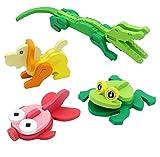 Hillento Rompecabezas de Madera, Rompecabezas de Madera de Animales en 3D estéreo Rompecabezas de los niños, Juego de 4 (cocodrilos, Peces de Colores, Rana, Perro)