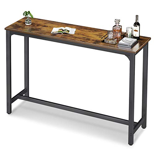 """ODK 55"""" Bar Table, Bar Height Pub Table 39'' Tall, Rectangular High Top Kitchen & Dining Tables with Sturdy Legs & Easy-to-Clean Top & 10 Min Quick Assembly, Rustic Brown"""