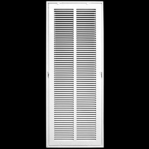 10' X 20 Steel Return Air Filter Grille for 1' Filter - Removable Face/Door - HVAC DUCT COVER - Flat Stamped Face - White [Outer Dimensions: 12.5'w X 22.5'h]