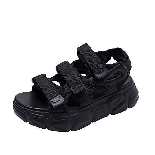 Women Sport Sandals Ladies Open Toe Retro 90s Ugly Dad Platforms Casual Sandals Shoes Memela (Black, 7 M US)