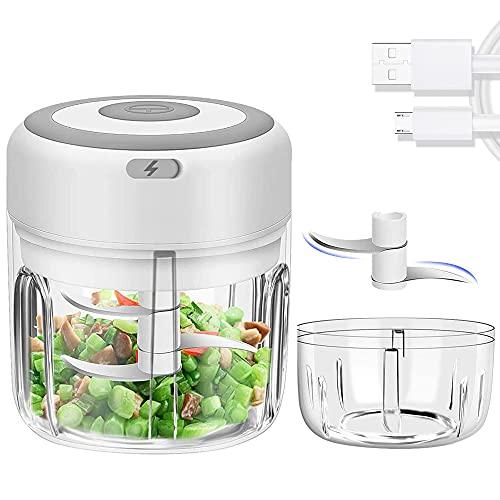 2PCS Mini Picadora de Alimentos Eléctrica,Picador de Ajo Recargable por USB,Inalámbrica Trituradora de Alimentos para Ajo,Cebolla,Jengibre,Chile y Alimentos para Bebés(250 ml &100 ml)