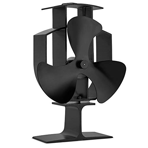 VonHaus Stromloser Ventilator mit 3-Blätter - Wärmebetriebener Ofenventilator für Holzöfen, Kamine & Öfen - Schwarzes Aluminium