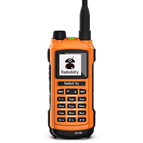Radioddity GS-5B Bluetooth Programming Handheld Ham Radio Dual Band Long Range Two Way Radio with Dual PTT, USB Rechargeable, S-Meter, Programming Cable, Rainproof