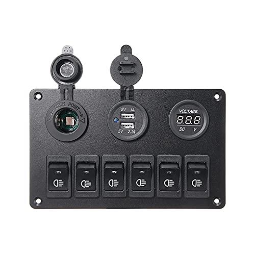 RJJX 6 Gang Blue LED Coche Panel de Interruptor de automóviles 12V 24V Interruptores de Circuito de sobrecarga Proteger Barco Rocker Interruptor de Control Panel de Control