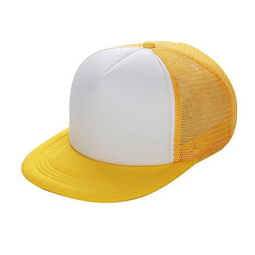 VECOLE Mesh Cap Mesh Baseball Cap Flache Sonnenblende Justierbare Baseballmütze Unisex Leichtes Atmungsaktiv Weich und Komfortabel (Gelb)