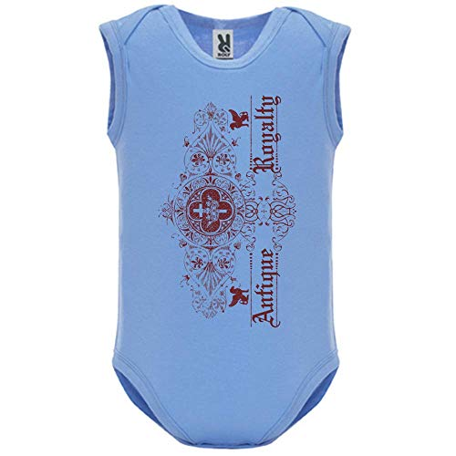 LookMyKase Body bébé - Manche sans - Antique Royalty - Bébé Garçon - Bleu - 12MOIS