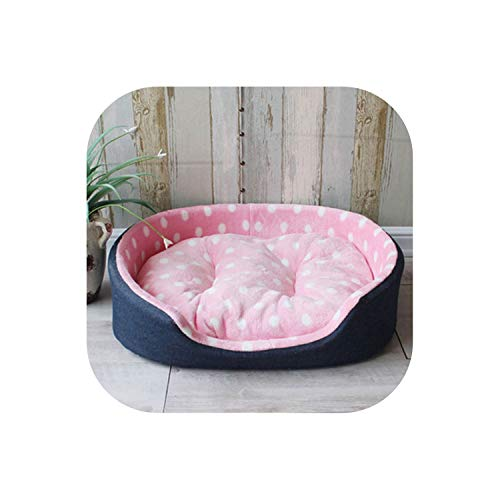 9 Colors Pet Beds Warm Puppy Cat Kennel House Comfortable Cama para Cachorro Mat Large Dog Bed S,M,L,XL,Pink dots,60X45X17CM
