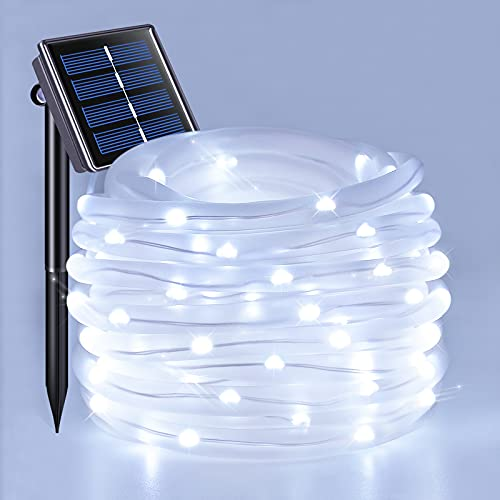 JMEXSUSS 120 LED Solar Powered Rope Lights Outdoor,39.4ft 8 Modes Solar Rope Lights,Waterproof Solar Rope Tube for Fence,Gazebo,Yard,Walkway,Path (White)