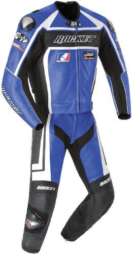 Joe Rocket Speedmaster 5.0 Herren Leder 2-teiliger Motorradkombi (Blau/Schwarz, Größe 42)