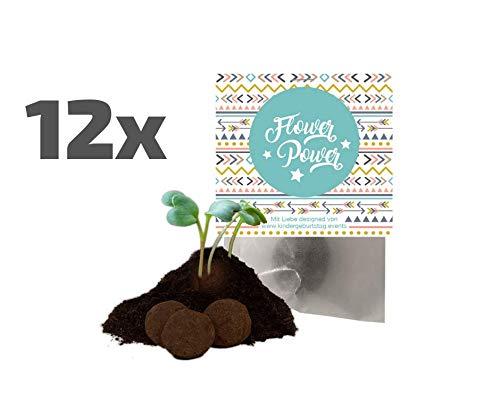 Ideenverlag 12x Flower Power Boho Samenbomben als Mitgebsel / Seedbombs / Partytüten / Mitgebseltüten / Geschenktüten / Blumen / Hippie / Give-aways / Geburtstag / Samenkugeln