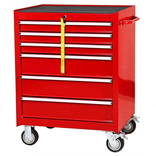 Goplus 30' x 24.5' Tool Box Cart Portable 6-Drawer Rolling Storage Cabinet Multi-Purpose Tool Chest Steel Garage Toolbox Organizer with Wheels and Keyed Locking System (Classic Red)