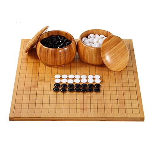 LYQZ Go Game Set, Massivholz Go Board enthält Schüsseln und Steine Klassisches chinesisches Strategie-Brettspiel for Anfänger