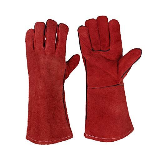 JZK Heavy duty grote lederen hittebestendige hittebestendige gevoerde lassers handschoenen voor hout brander log brander BBQ, tuinieren handschoenen voor mannen