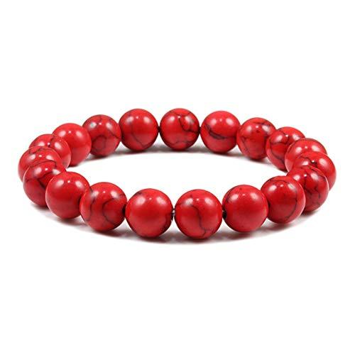 Q4S Pulsera De Piedra De Lava para Mujer Pulsera con Cuentas De Turquesas Blancas Y Negras-Red