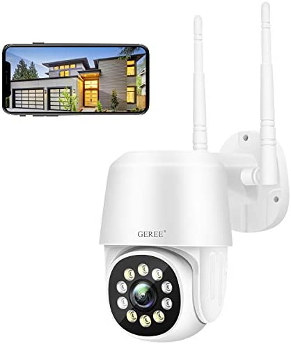 PTZ Security Camera Outdoor GEREE CCTV Camera 1080P Pan Tilt Waterproof Night Vision 2 Way Audio product image