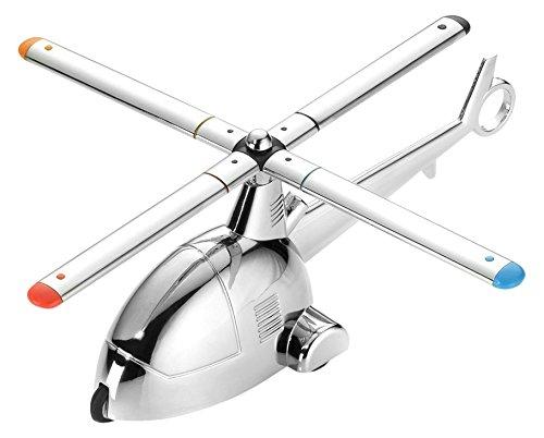 Troika Schreibtischobjekt/Briefbeschwerer 'Ready 4 Take Off', Helikopter mit Magnet für Büroklammern und Rückziehmotor