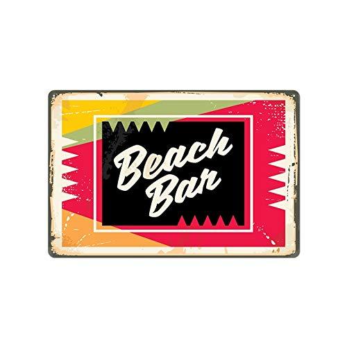 Guangzhouf Summer Beach Surf Series Placas Placa de Metal Cartel Bar Café Restaurante Restaurante Interior Retro Pinturas de Hierro en Mal Estado Cartel de Chapa 20x30cm 23