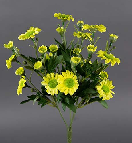 Margeritenbusch 30cm gelb -ohne Topf- ZF Kunstpflanzen künstliche Margerite Pflanze Blumen Kunstblumen