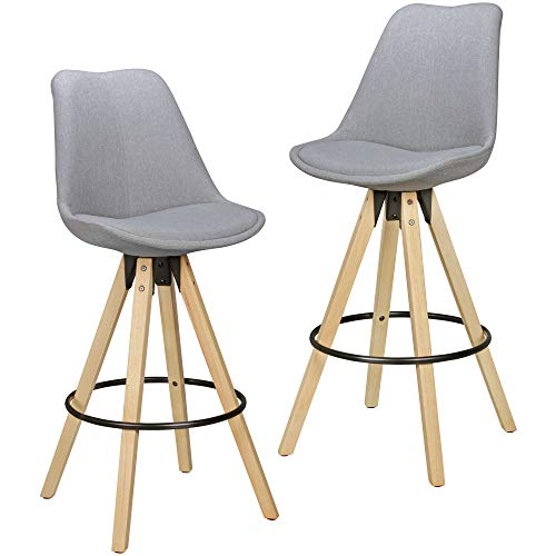 FineBuy 2er Set Barhocker Retro Design Stoff Holz mit Rücken-Lehne | Design Barstuhl Retro Skandinavisch 2 Stück | Tresenhocker Sitzhöhe 77 cm