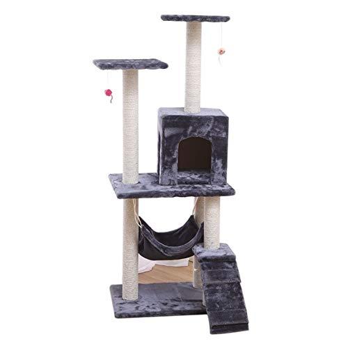 TEVISE Kratzbaum Turm Kratz Multi-Plattform Large Cat Condo 140 cm Höhe zum Krallenschärfen und Entspannen (Color : Gray)