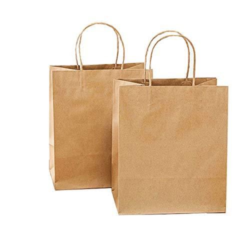 Bolsas de regalo de papel de Pascua de color marrón con asa, 50 unidades de bolsas de regalo para regalos de cumpleaños (tamaño: 24 x 28 x 15,5 cm)