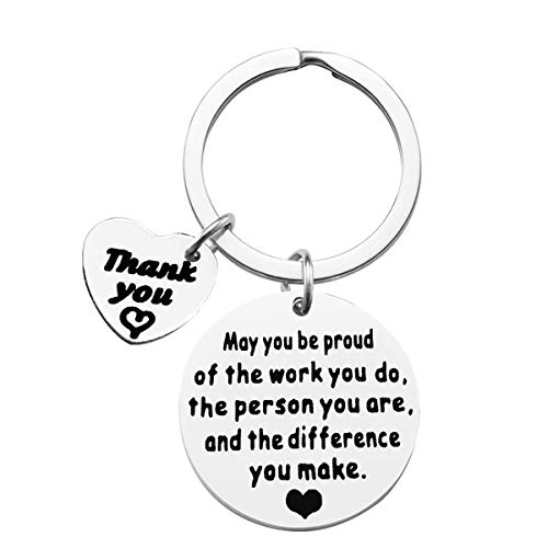 Appreciation Keychain Thank You Gift Appreciation Keyring Make A Difference Keychain Gift for Volunteer Appreciation,Coach Mentor Gift,Employee Gift,Social Worker Gift,Teacher Keyring