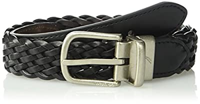 "Nautica Boys' Big 1"" Wide Reversible Braid, Black/Brown, 26"