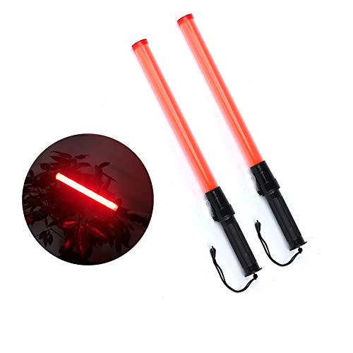 2 Pieces 21-inch Signal Traffic Safety Baton Light Traffic Control Wand 6 Red LED with 2 Flashing Modes,Using 2 C-Size Batteries (Not Included)