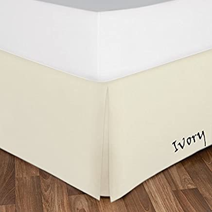 featured product Great Shade Of Ivory Color Solid Pattern Bed-Skirt (1) One Piece Egyptian Cotton 400 Thread Count Bed Skirt Drop Length 13 Inch Fall ( King Size ) Made By AHS Linen