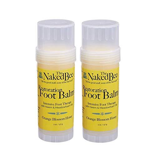 The Naked Bee Restoration Foot Balm, Orange Blossom Honey, Twist Up Tube 2.0 Oz. - 2 Pack