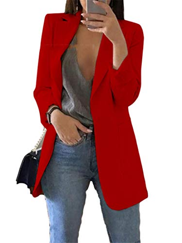 Generic Andongnywell Women's Solid Color Casual Long Sleeve Blazer Jacket Cardigan Work Blazer with Pockets Outwear (Red 1,Large)
