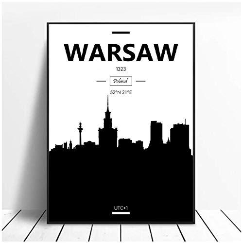 Mxibun Warszawa sztuka płótno estetyczny plakat dekoracja domu obraz dekoracja ścienna - 50 x 70 cm x 1 bez ramki