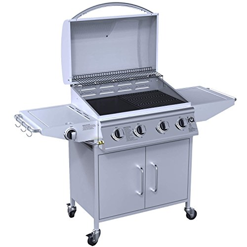 iQ The West Virginia Classic 4+1 Gas BBQ Grill - 4 Burner Barbecue + 1 Side Burner - Free BBQ Cover and Utensil Set