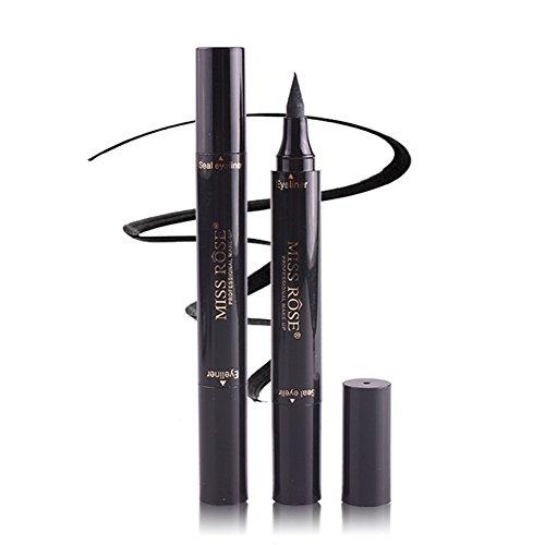 Winged Eyeliner Stamp-2 Pens Dual Ended Liquid Eye Liner Pen Waterproof Smudge Proof Long Lasting eyeliner Vamp Style Tool for Wing or Cat Eye (10mm Classic Black)