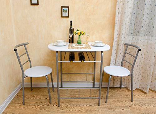 lyrlody Essgruppe, Esstisch mit 2 Stühlen und Speicherschicht Küchentisch Frühstückstisch Bartisch Stehtisch Barstühle aus MDF und Alugestell, Küchenbar für Esszimmer Küche