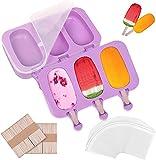 2 moldes de helado con tapa, juego de moldes de 6 celdas de helado de silicona con 100 palos de madera, sin BPA, moldes para postres para niños y adultos (morado)